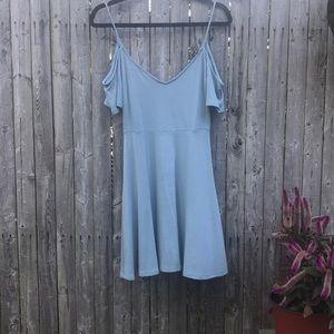 Lulu | Light Blue Cut Out Shoulder flowy Dress